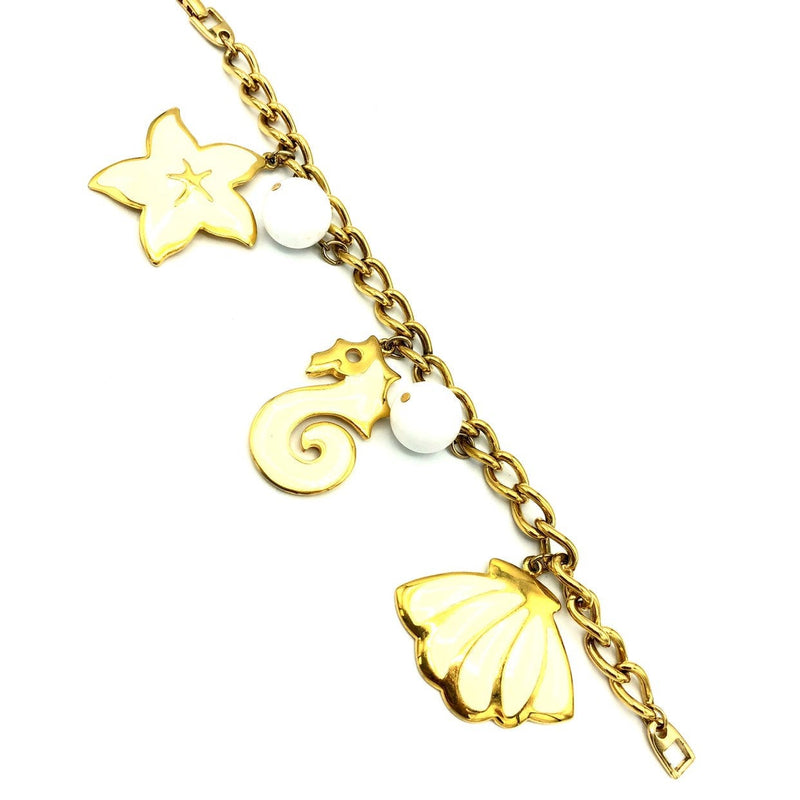 update alt-text with template Napier Gold Enamel Seahorse Starfish Shell Vintage Charm Bracelet-Bracelets-24 Wishes-[trending designer jewelry]-[napier jewelry]-[Sustainable Fashion]