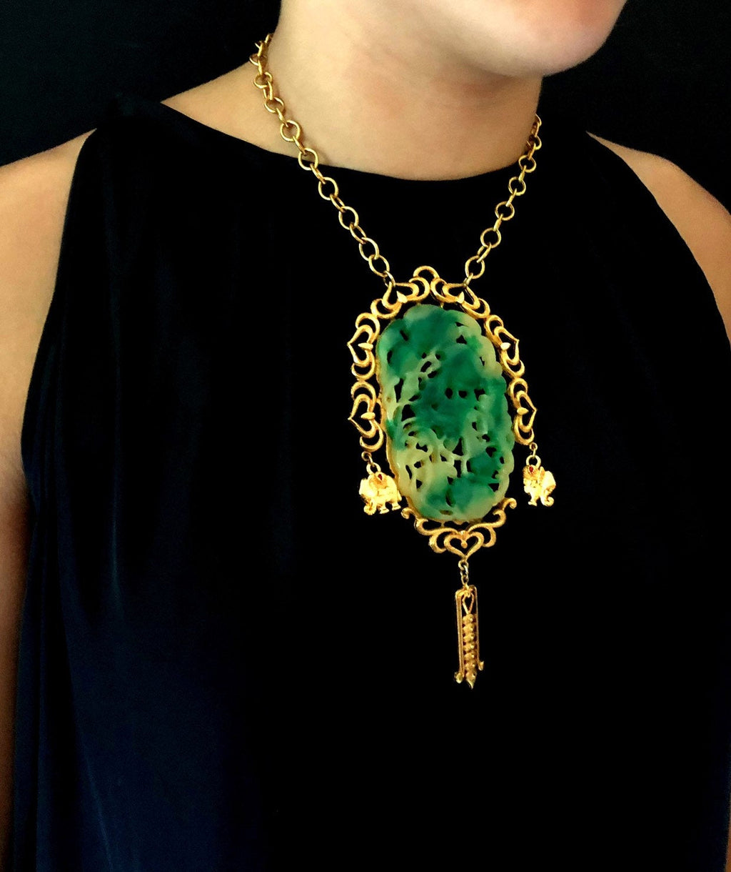 Vendome Asian-Inspired Green Jade Vintage Pendant-Sustainable Fashion with Vintage Style-Trending Designer Fashion-24 Wishes