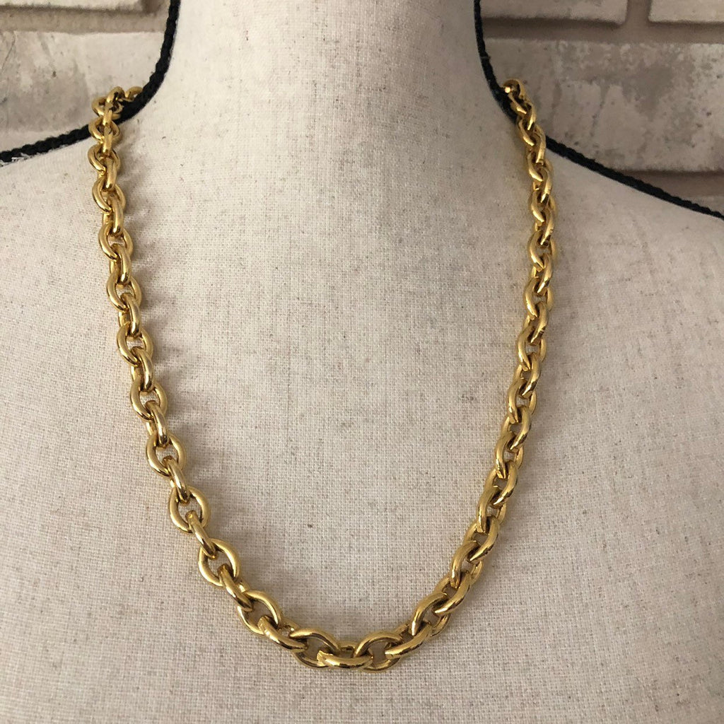Anne Klein Classic Heavy Link Gold Chain Necklace-Sustainable Fashion with Vintage Style-Trending Designer Fashion-24 Wishes