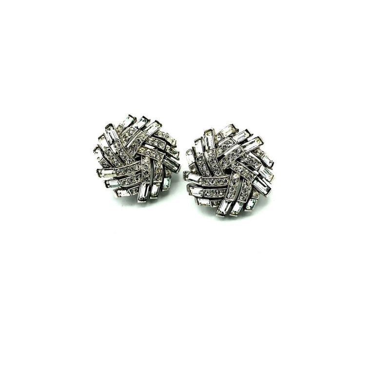 Silver Crown Trifari Diamante Baguette Earrings-Sustainable Fashion with Vintage Style-Trending Designer Fashion-24 Wishes