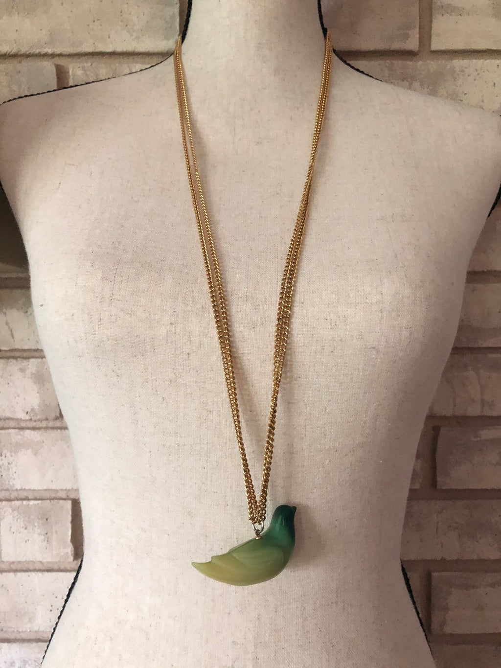 Kenneth Jay Lane Gold Jade Green Lucite Bird Vintage Pendant-Necklaces & Pendants-24 Wishes