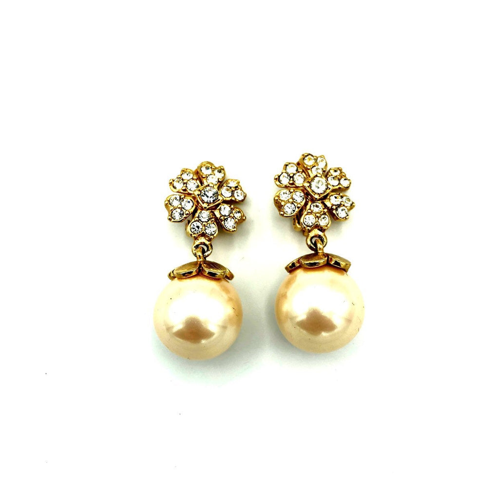 Vintage White Pearl Drop Rhinestone Flower Earrings-Sustainable Fashion with Vintage Style-Trending Designer Fashion-24 Wishes