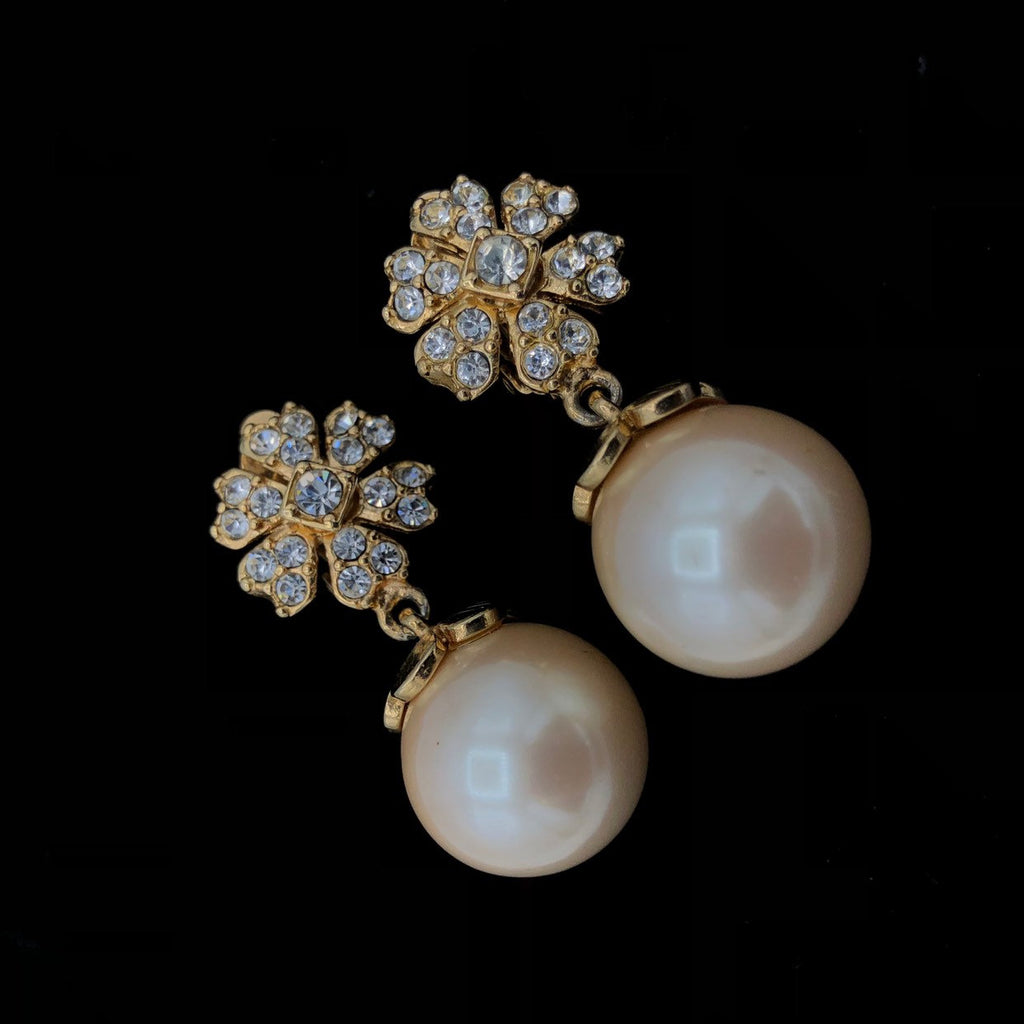 Vintage White Pearl Drop Rhinestone Flower Earrings