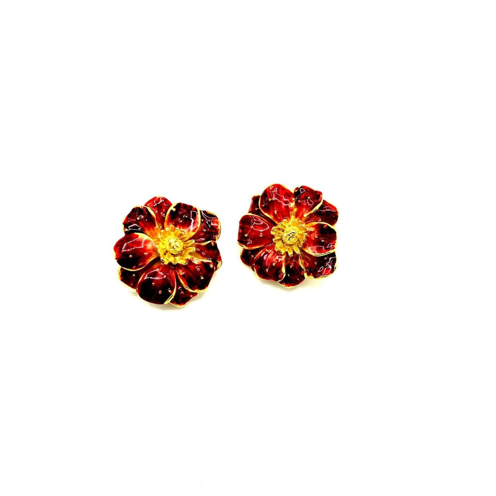Erwin Pearl Red Enamel Flower Earrings-Sustainable Fashion with Vintage Style-Trending Designer Fashion-24 Wishes