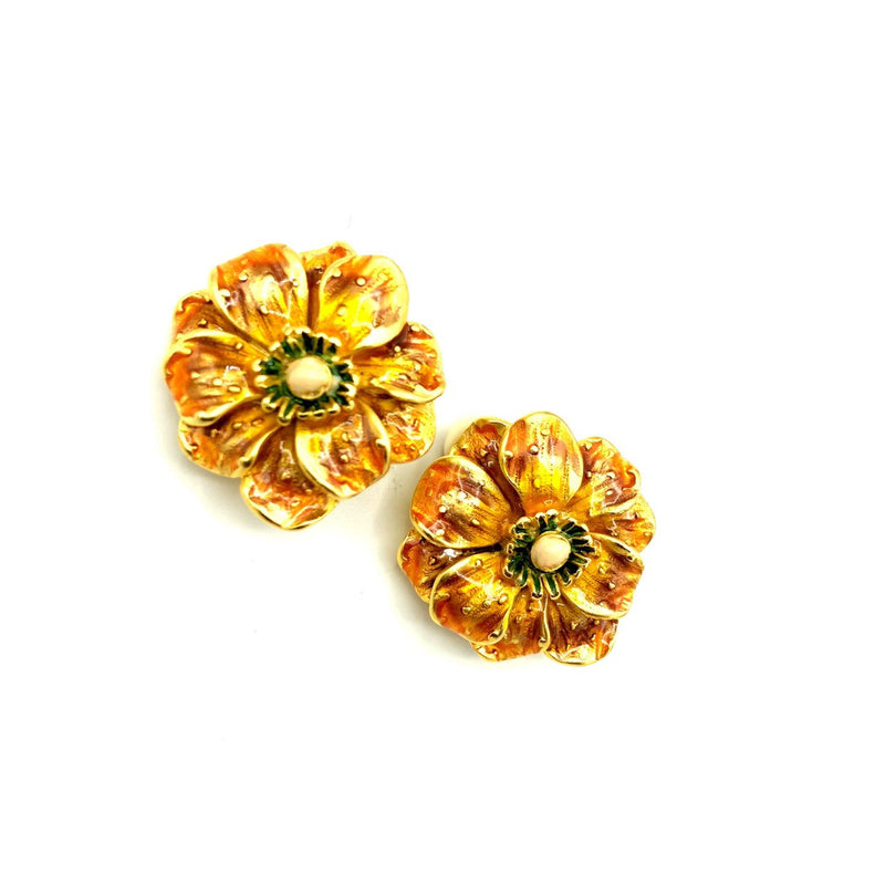 Erwin Pearl Golden Yellow Enamel Flower Earrings-Sustainable Fashion with Vintage Style-Trending Designer Fashion-24 Wishes