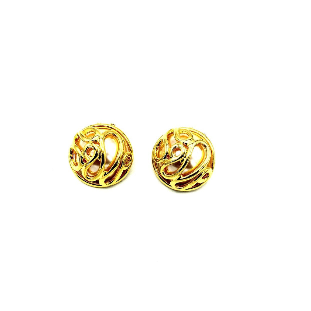 Norma Jean Gold Caged Pearl Classic Vintage Button Earrings
