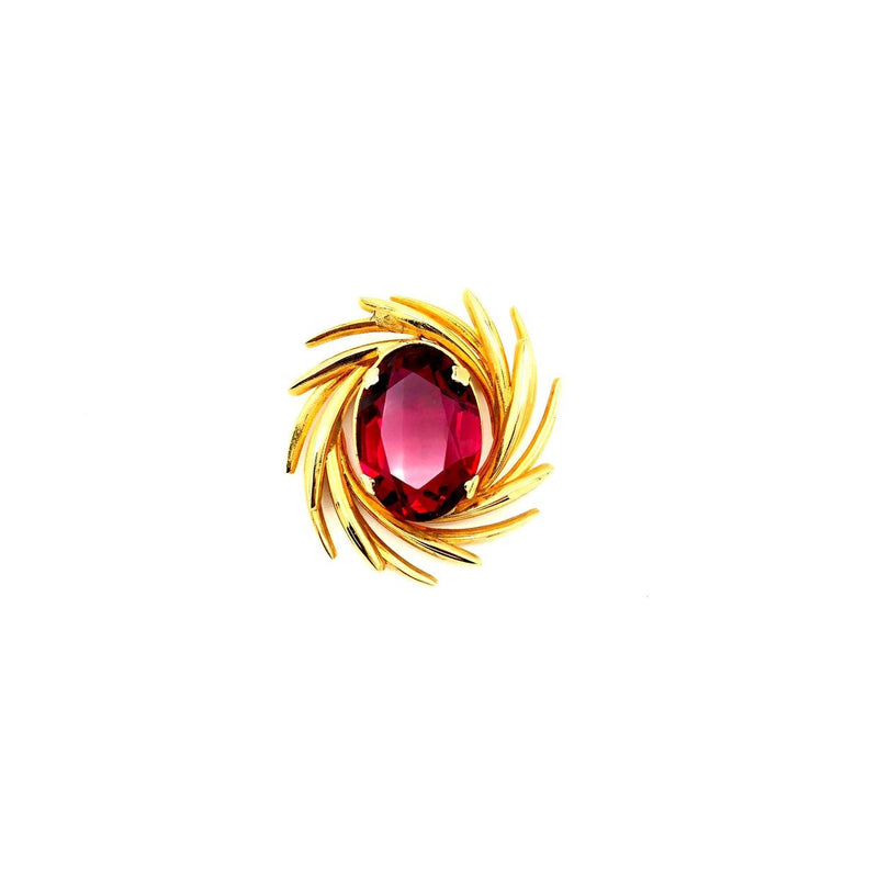 Gold Swirl Large Ruby Pink Vintage Brooch Pin-Sustainable Fashion with Vintage Style-Trending Designer Fashion-24 Wishes