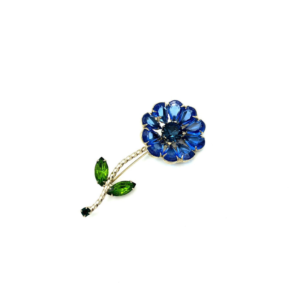 Large Blue Rhinestone Long Stem Flower Brooch-Sustainable Fashion with Vintage Style-Trending Designer Fashion-24 Wishes