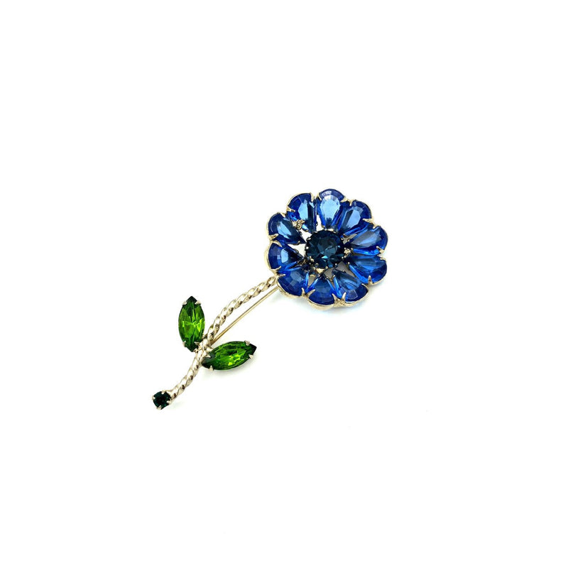 Large Blue Rhinestone Long Stem Flower Brooch