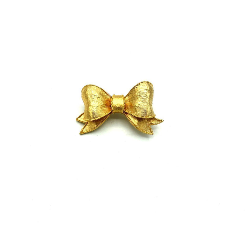 Classic Petite Gold Bow Ribbon Brooch-Sustainable Fashion with Vintage Style-Trending Designer Fashion-24 Wishes