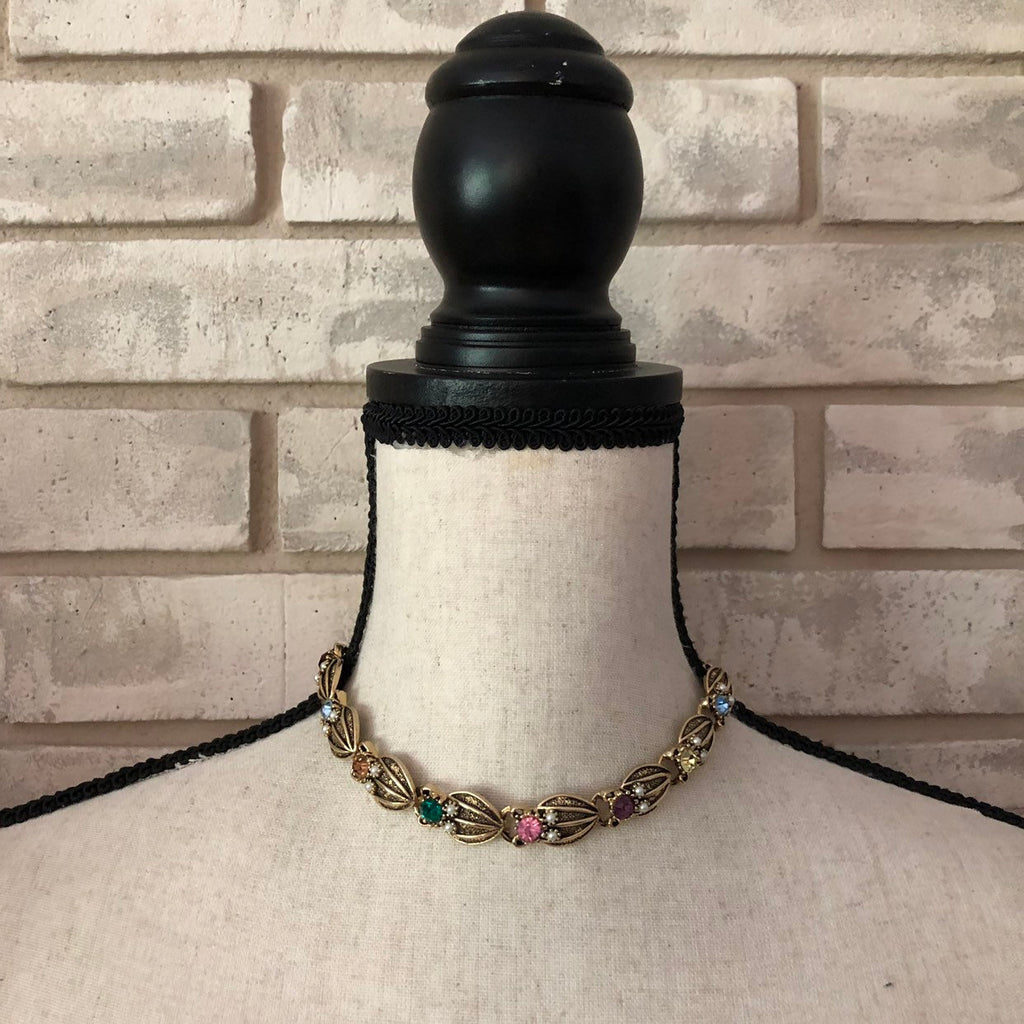 Vintage Mult-Color Rhinestones & Pearls Jewelry Set