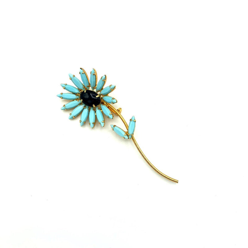 Turquoise Blue Rhinestone Long Stem Flower Vintage Brooch-Sustainable Fashion with Vintage Style-Trending Designer Fashion-24 Wishes
