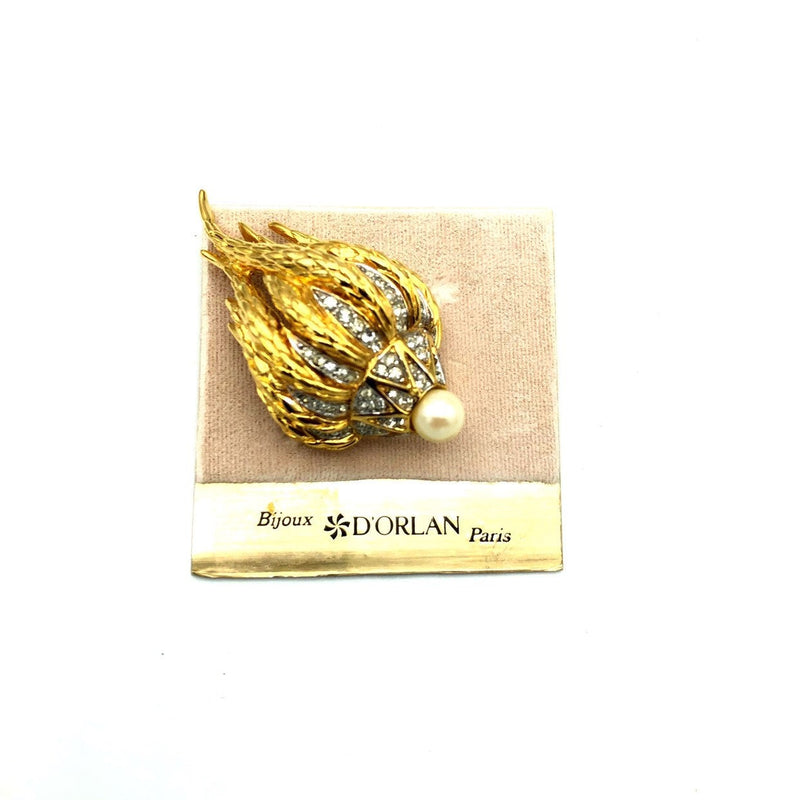 Gold Organic Abstract Flower Pearl Vintage Rhinestone Brooch by D'Orlan