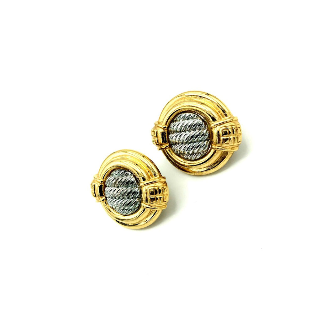 Givenchy Large Two Tone Logo Vintage Earrings