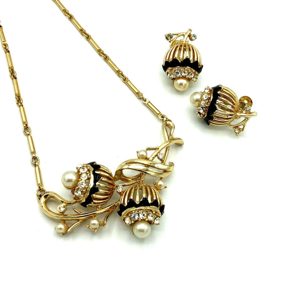 Coro Gold Floral Pearl & Rhinestone Vintage Jewelry Set