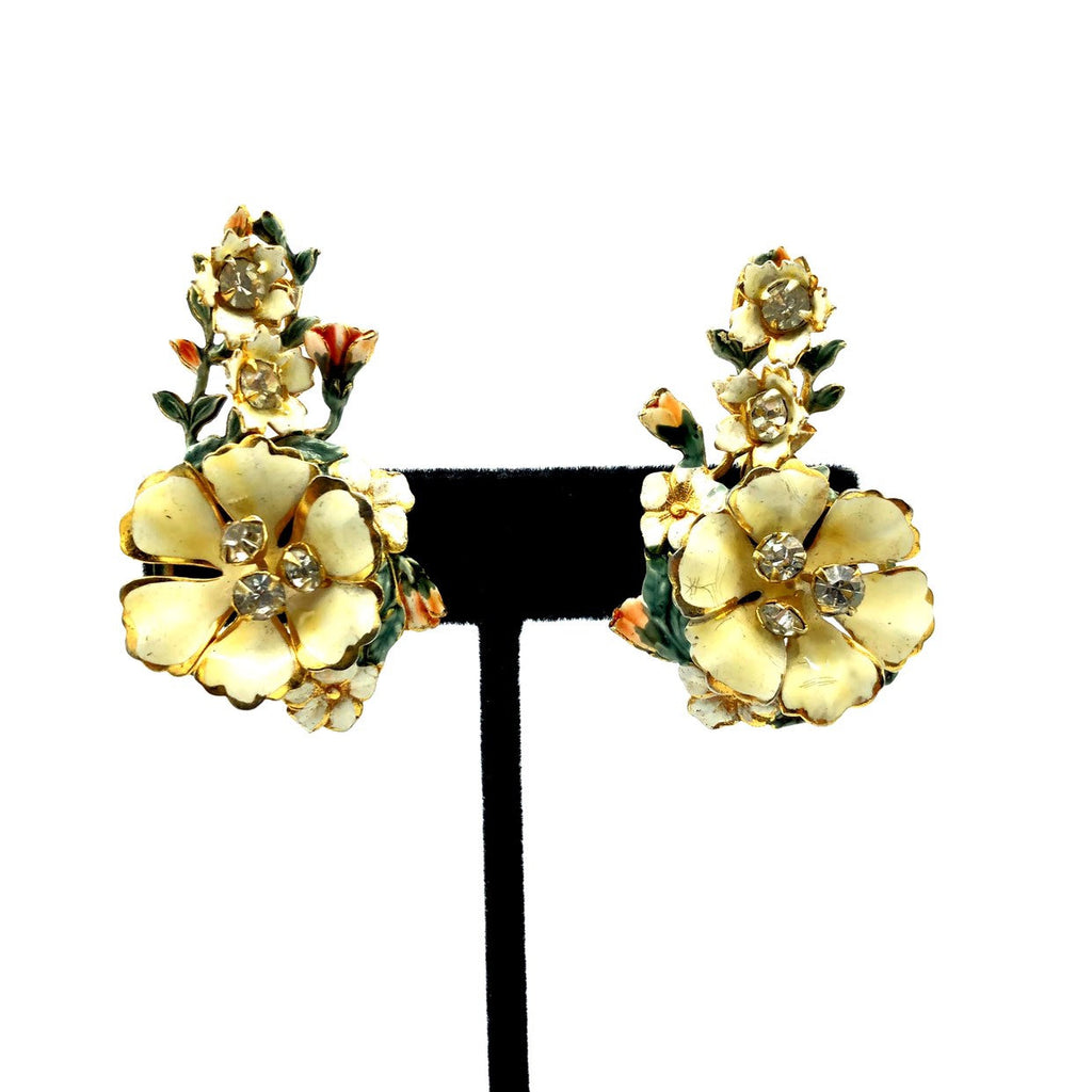 Sandor White Enamel Floral Vintage Clip-On Earrings-Sustainable Fashion with Vintage Style-Trending Designer Fashion-24 Wishes
