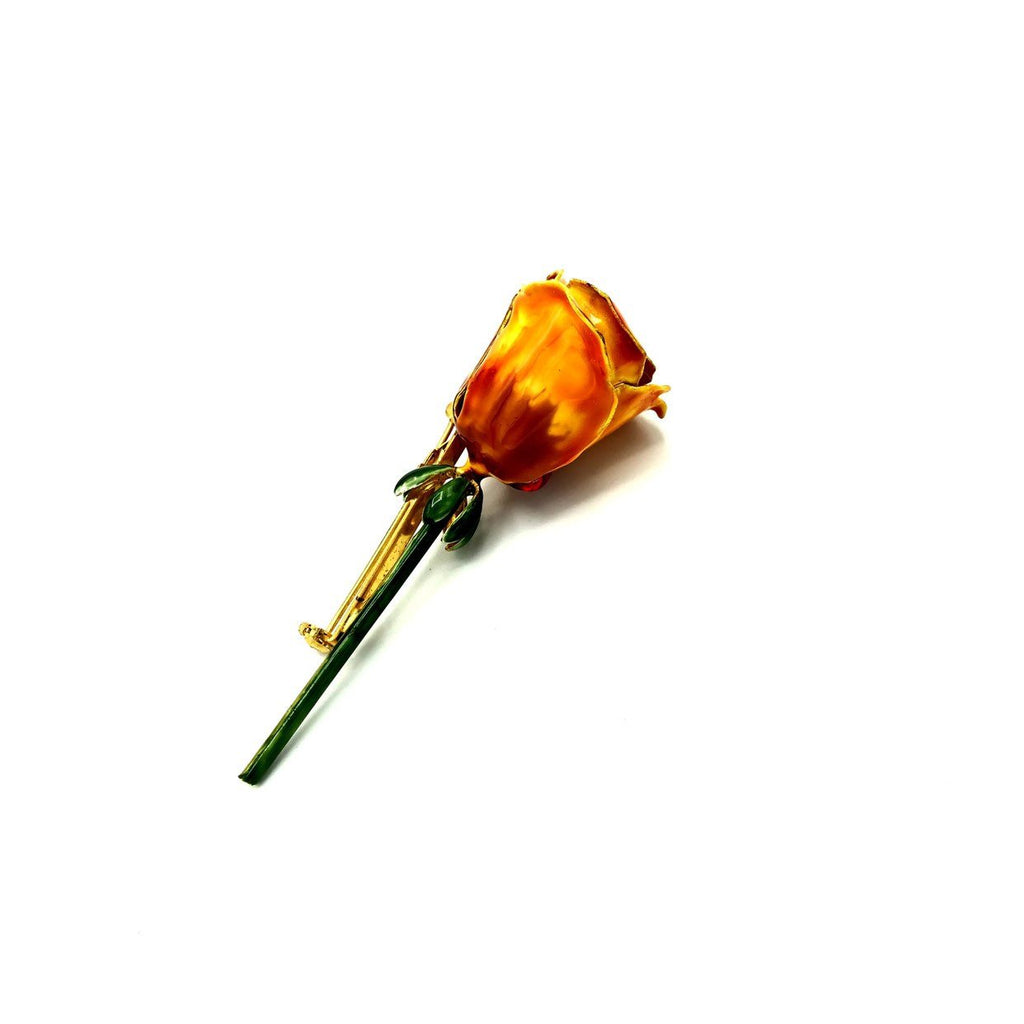 Large Sandor Orange Enamel Long Stem Flower Vintage Brooch