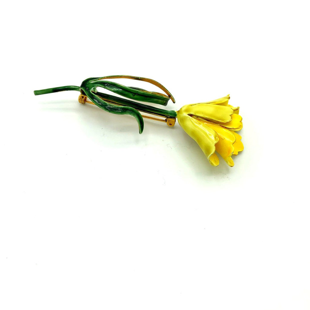 Large Sandor Yellow Enamel Long Stem Flower Vintage Brooch