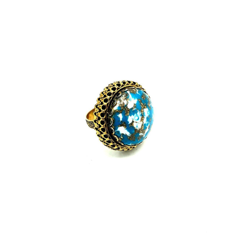 Vintage Large Faux Turquoise Cabochon Cocktail Ring-Sustainable Fashion with Vintage Style-Trending Designer Fashion-24 Wishes