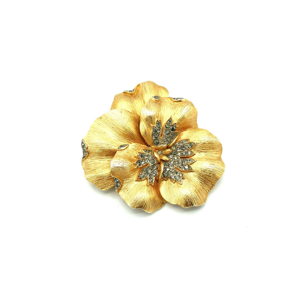 Vintage Trifari Gold Rhinestone Pansy Brooch-Sustainable Fashion with Vintage Style-Trending Designer Fashion-24 Wishes