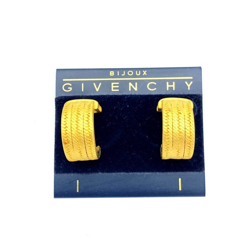 Givenchy Matt Gold Logo Vintage Chain Hoop Earrings