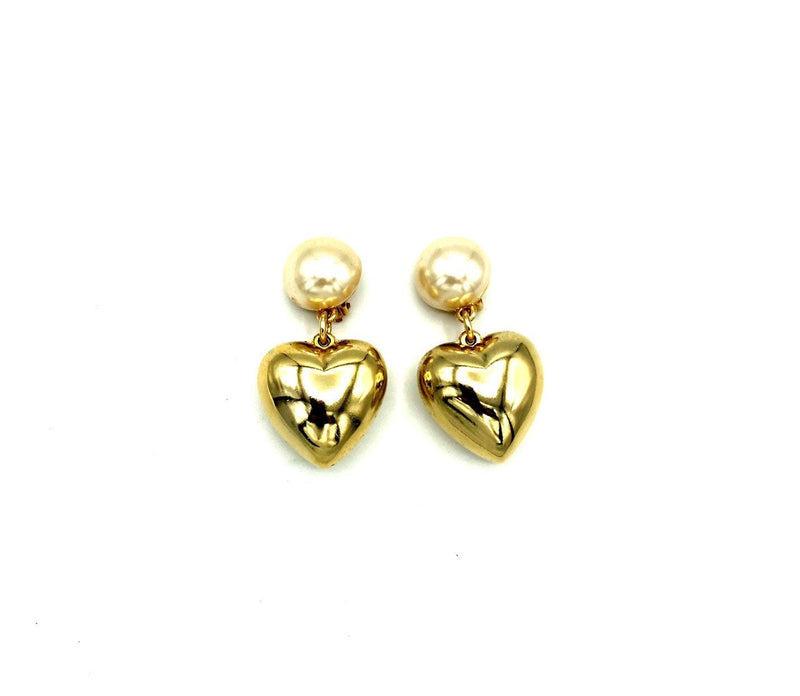 Erwin Pearl Gold Puffy Heart Pearl Vintage Earrings