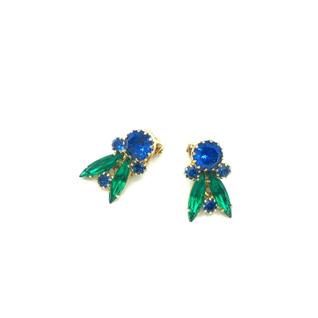 Vintage Blue & Green Rhinestone Floral Earrings-Sustainable Fashion with Vintage Style-Trending Designer Fashion-24 Wishes