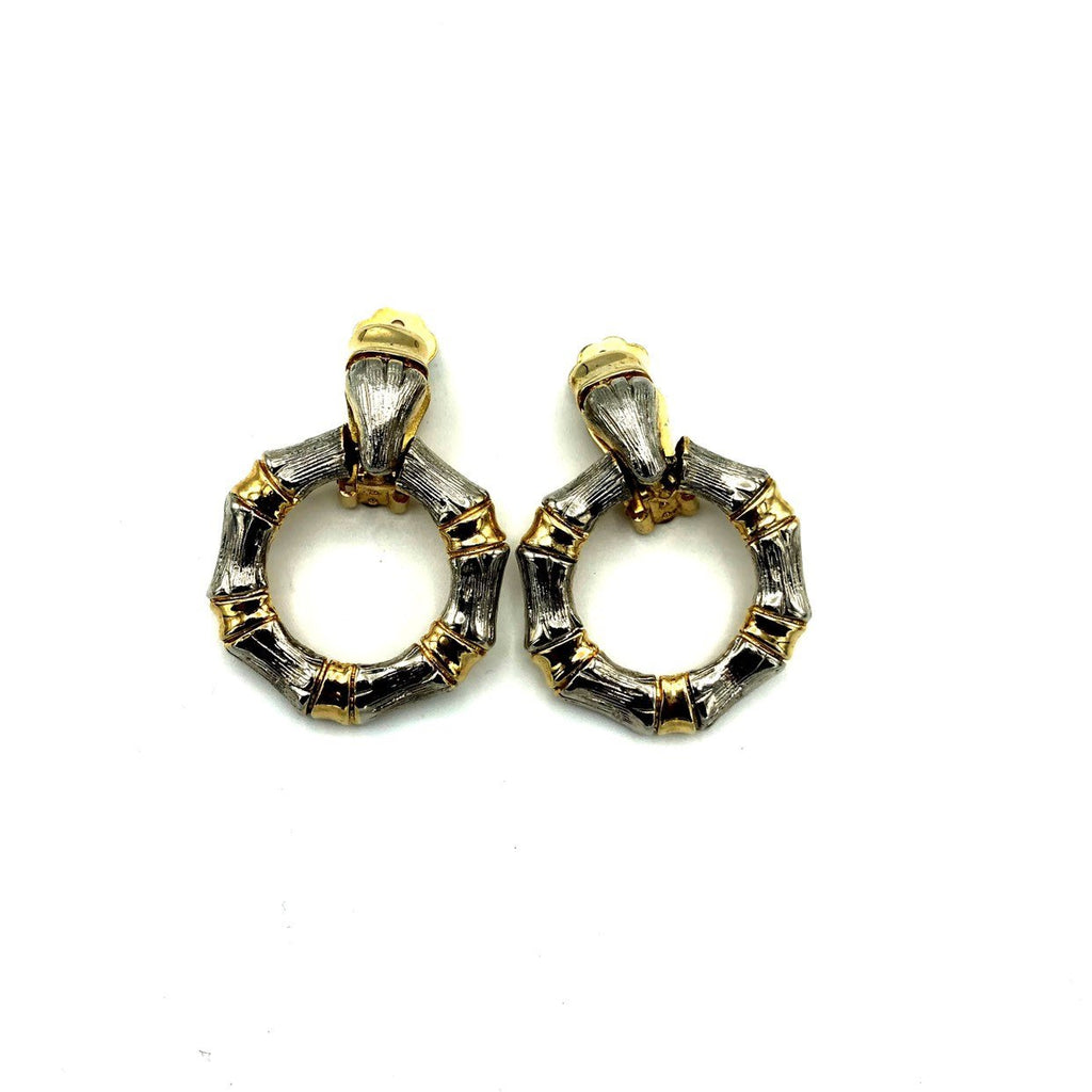 Silver & Gold Bamboo Door Knocker Vintage Earrings-Sustainable Fashion with Vintage Style-Trending Designer Fashion-24 Wishes