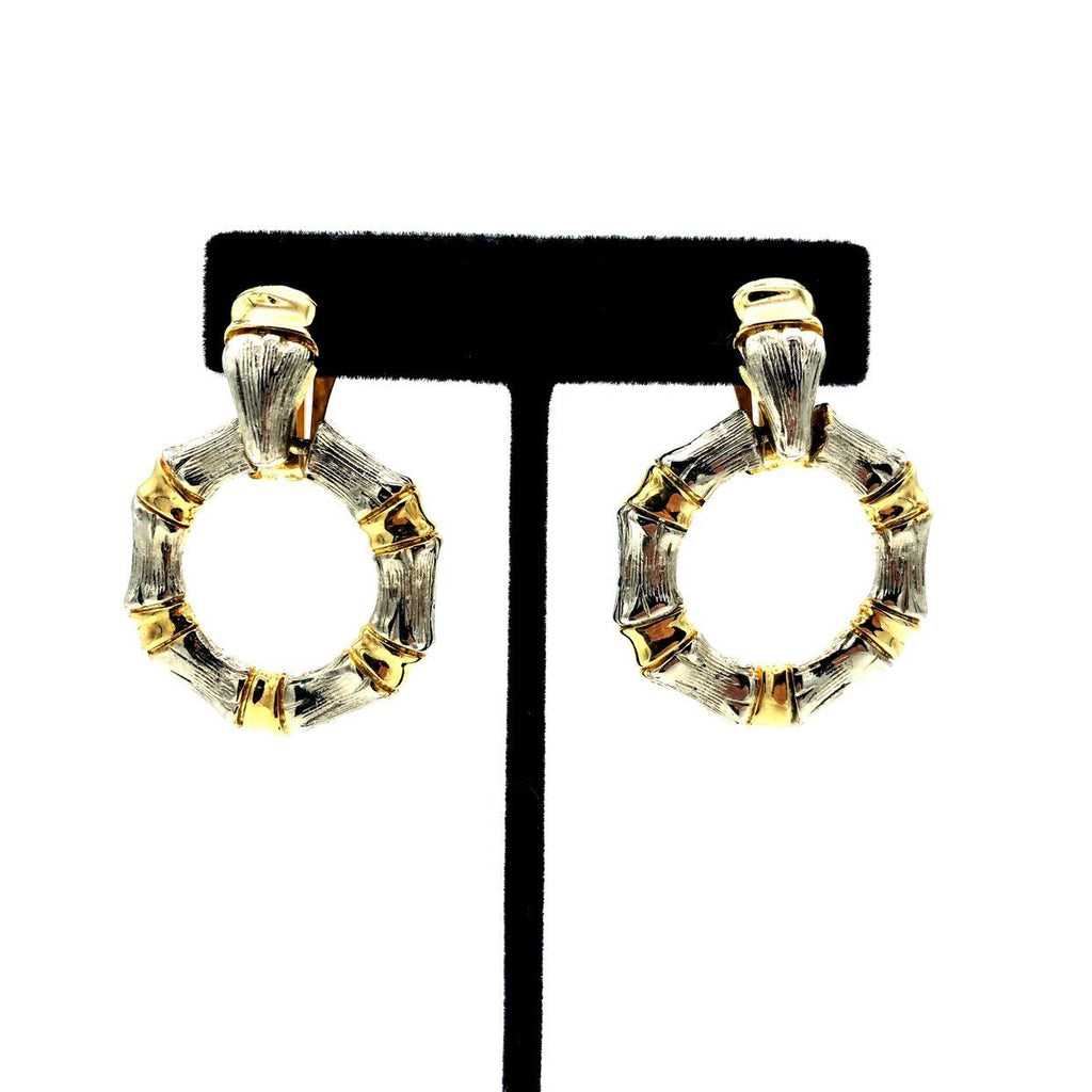Silver & Gold Bamboo Knocker Vintage Earrings