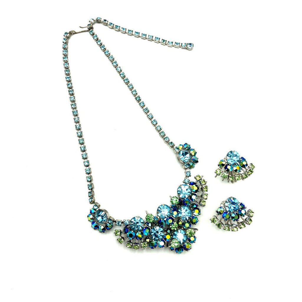 Stunning Baby Blue and Green Rhinestone Jewelry Set