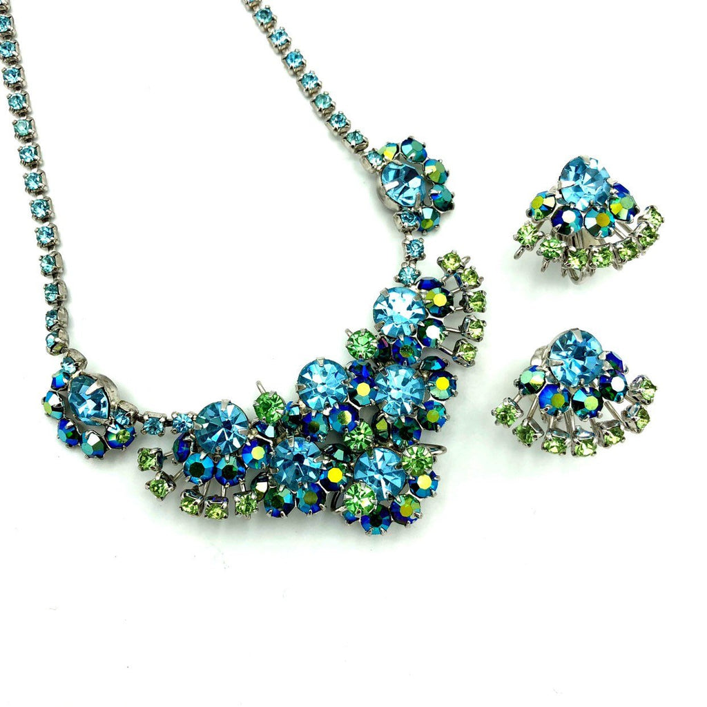 Stunning Baby Blue and Green Rhinestone Jewelry Set-Sustainable Fashion with Vintage Style-Trending Designer Fashion-24 Wishes
