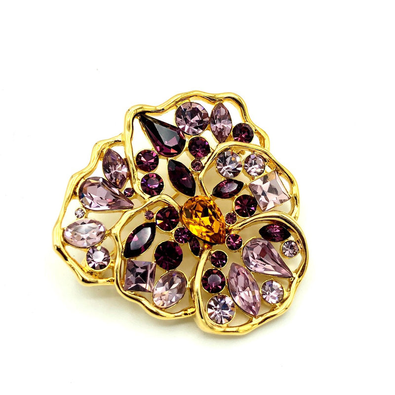 Nolan Miller Purple Wild Pansy Flower Vintage Brooch Pin-Sustainable Fashion with Vintage Style-Trending Designer Fashion-24 Wishes