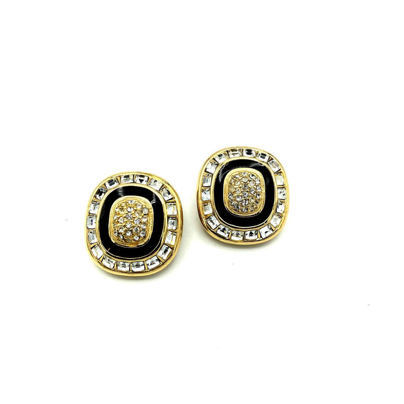 Christian Dior Gold Black Enamel Rhinestone Vintage Earrings