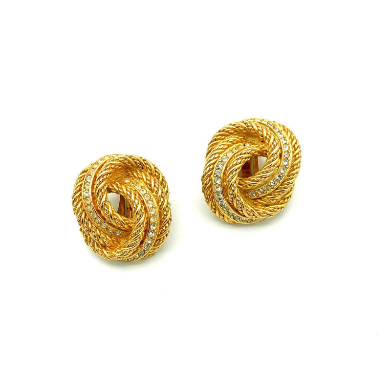 update alt-text with template Christian Dior Classic Knot Rope Vintage Gold Clip-On Earrings-Earrings-Christian Dior-[trending designer jewelry]-[christian dior jewelry]-[Sustainable Fashion]