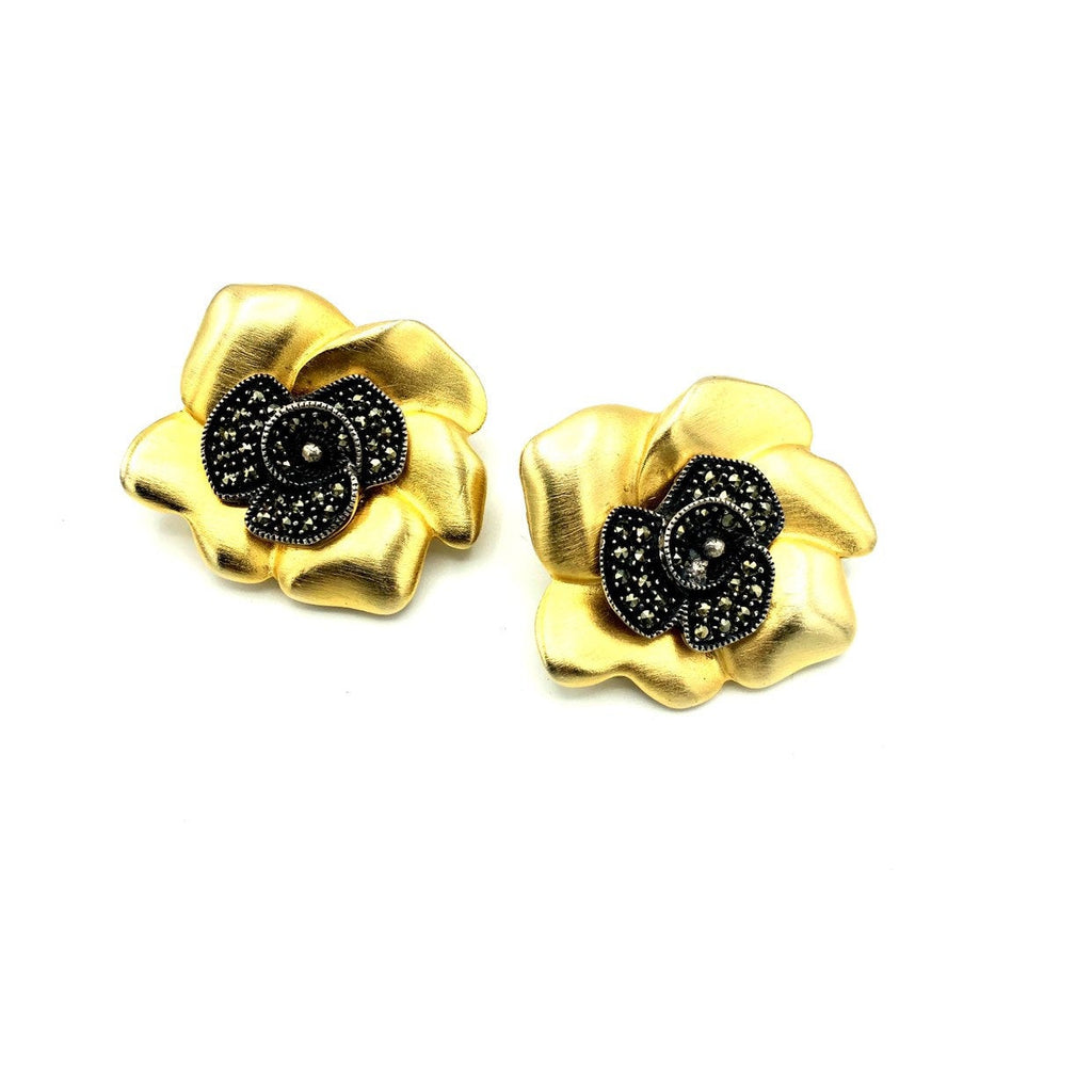 Judith Jack Gold & Silver Flower Vintage Earrings
