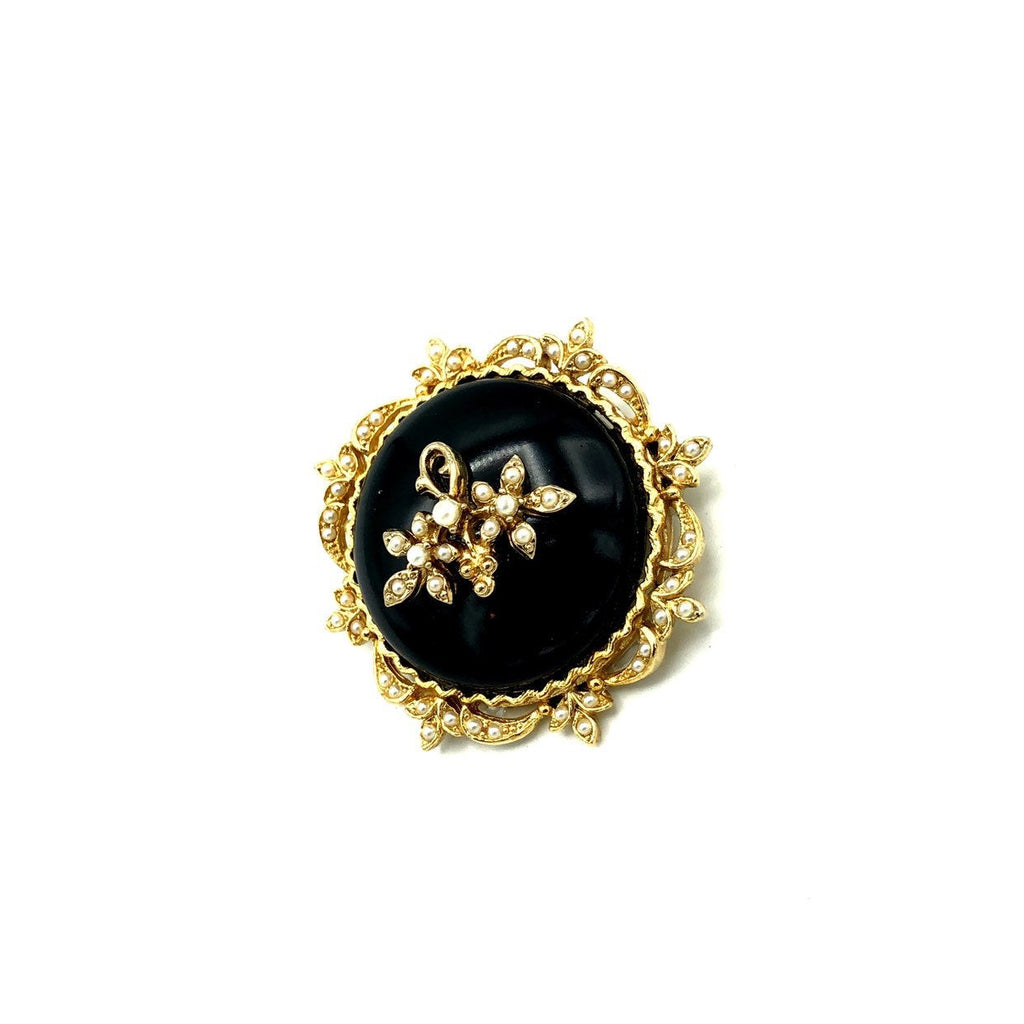 Classic Victorian Inspired Black With Seed Peal Brooch By Art-Sustainable Fashion with Vintage Style-Trending Designer Fashion-24 Wishes
