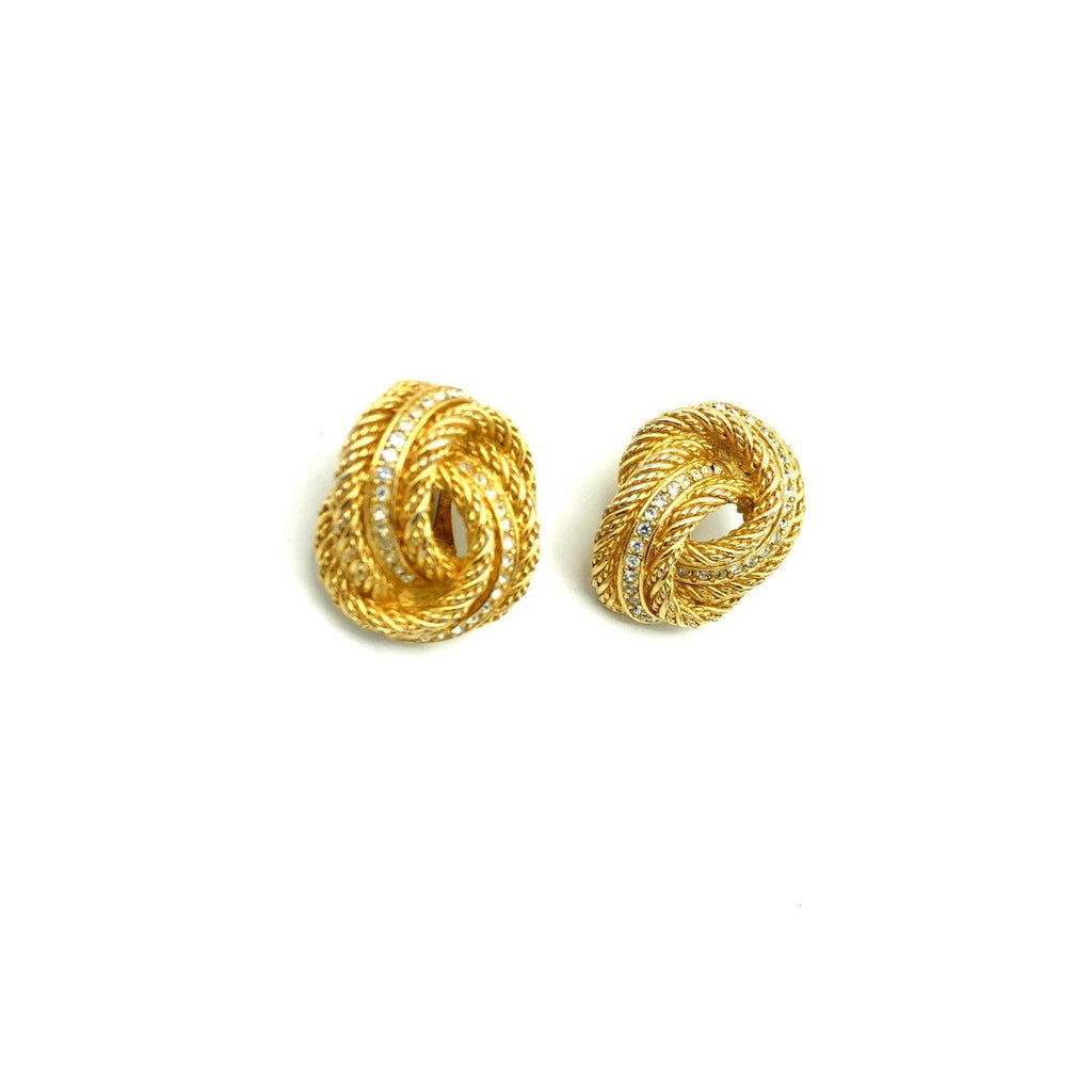 Christian Dior Classic Knot Rope Vintage Gold Earrings
