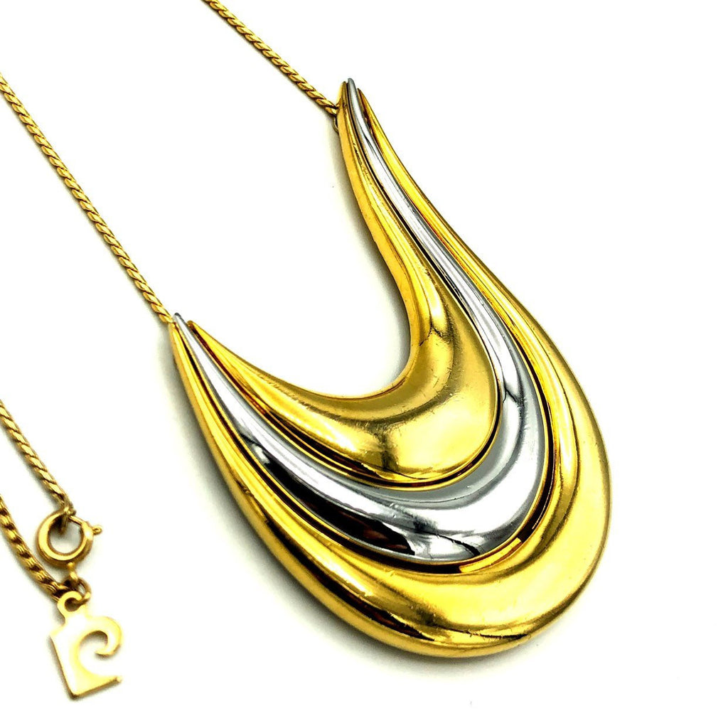 Pierre Cardin Two-tone Gold & Silver Abstract Pendant