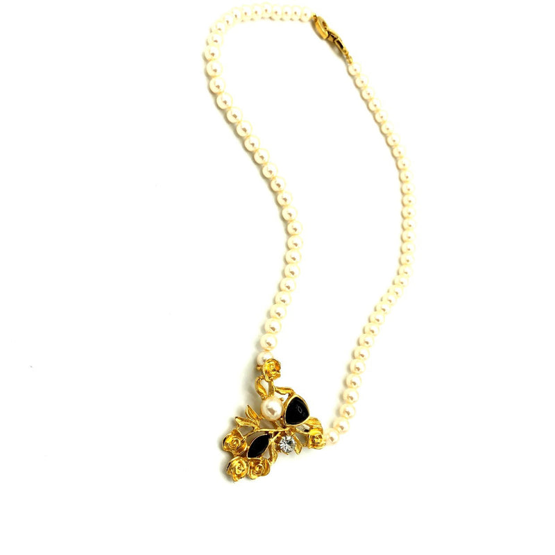 Vintage Richelieu Pearl Floral Rose Classic Gold Pendant-Sustainable Fashion with Vintage Style-Trending Designer Fashion-24 Wishes