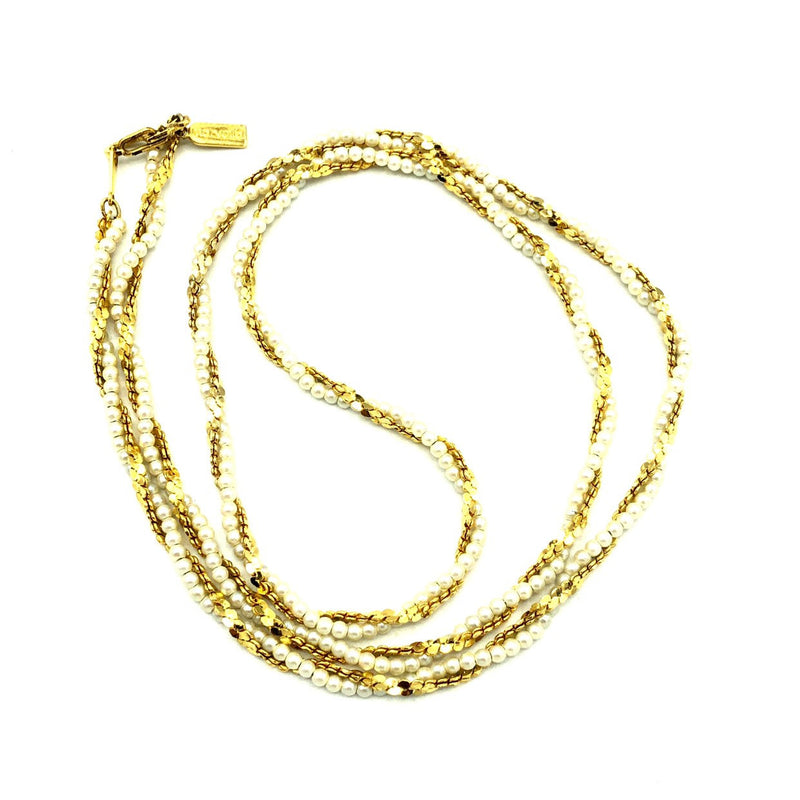 Marvella Pearl & Gold Chain Layering Vintage Necklace-Sustainable Fashion with Vintage Style-Trending Designer Fashion-24 Wishes