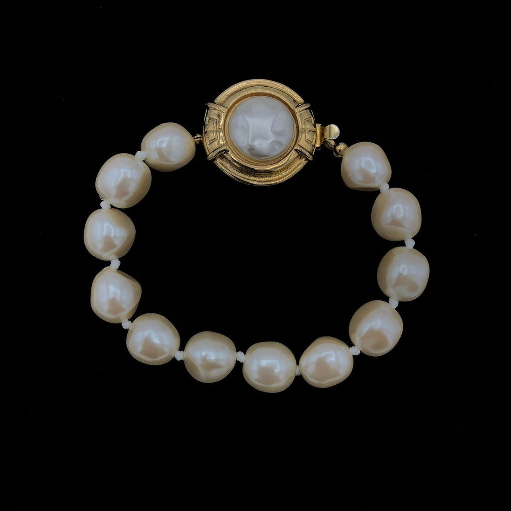 Givenchy Baroque Pearl Logo Vintage Bracelet-Sustainable Fashion with Vintage Style-Trending Designer Fashion-24 Wishes