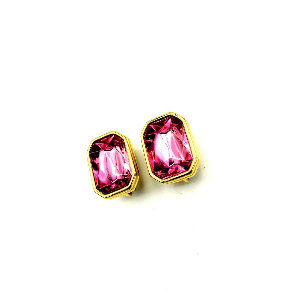 Trifari Large Pink Statement Earrings-Sustainable Fashion with Vintage Style-Trending Designer Fashion-24 Wishes