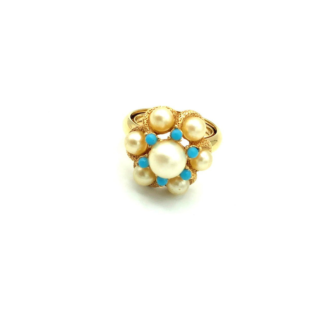 Avon Pearl Cluster Dome Vintage Cocktail Ring