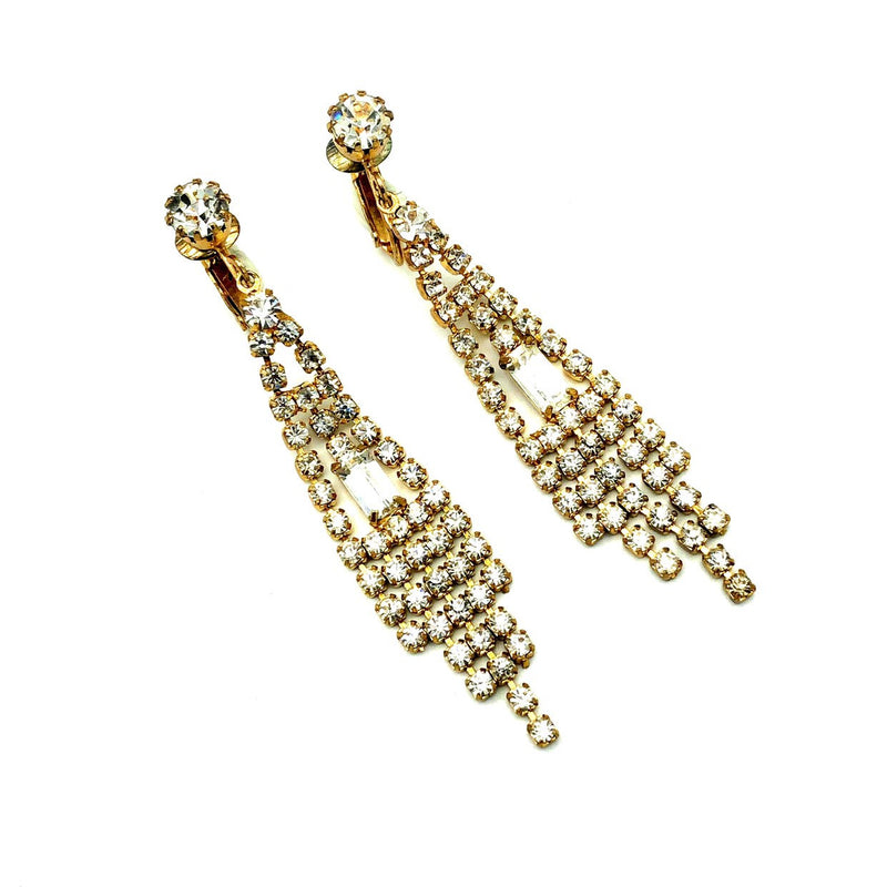 Dramatic Rhinestone Chandelier Vintage Earrings-Sustainable Fashion with Vintage Style-Trending Designer Fashion-24 Wishes
