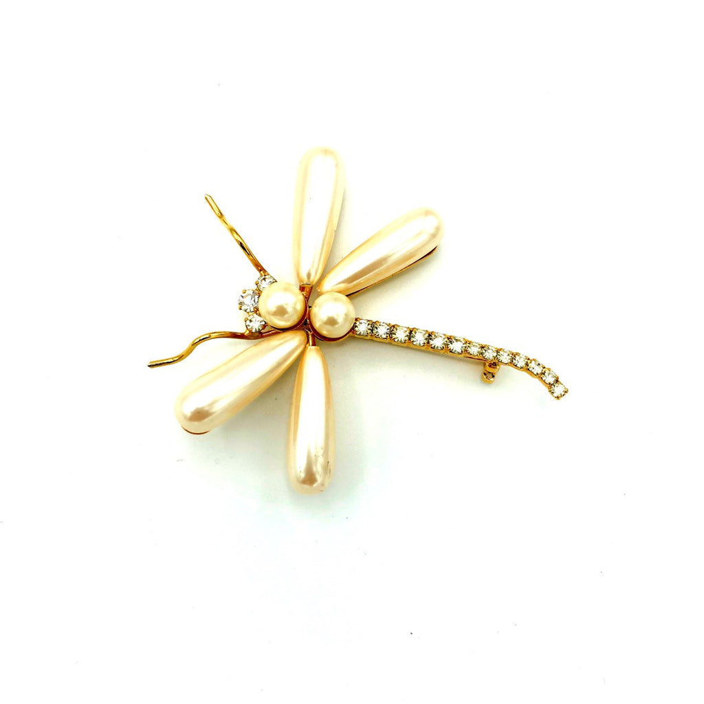 Gold Large White Pearl Dragonfly Vintage Brooch