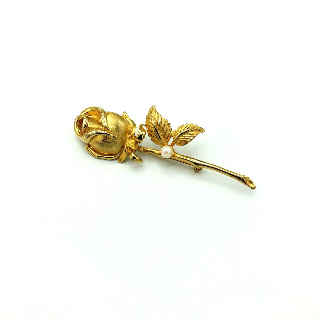 Classic Gold Long Stem Vintage Rose Brooch by Brooks