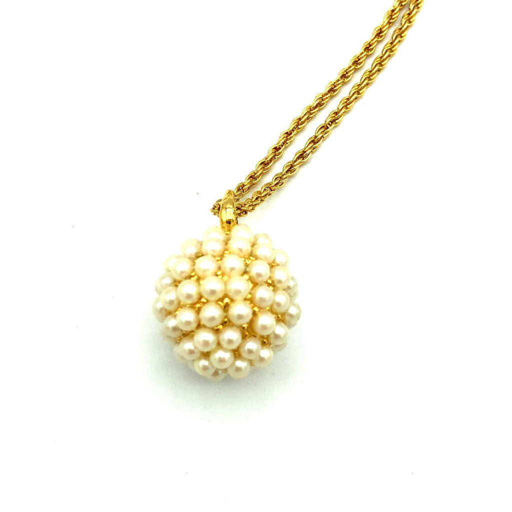 Joan Rivers White Pearl Pave Sphere Vintage Pendant-Sustainable Fashion with Vintage Style-Trending Designer Fashion-24 Wishes