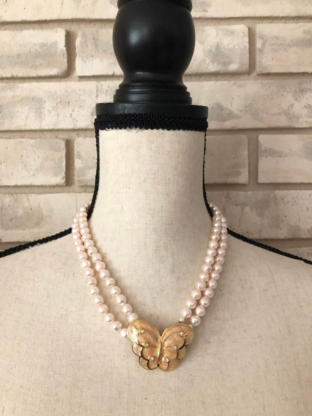 Kenneth Jay Lane Blush Pearl & Enamel Butterfly Pendant-Sustainable Fashion with Vintage Style-Trending Designer Fashion-24 Wishes