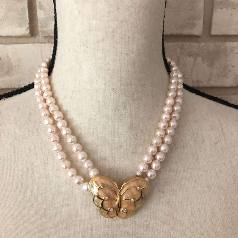 update alt-text with template Kenneth Jay Lane Blush Pearl & Enamel Butterfly Pendant-Necklaces & Pendants-Kenneth Jay Lane-[trending designer jewelry]-[kenneth jay lane KJL jewelry]-[Sustainable Fashion]