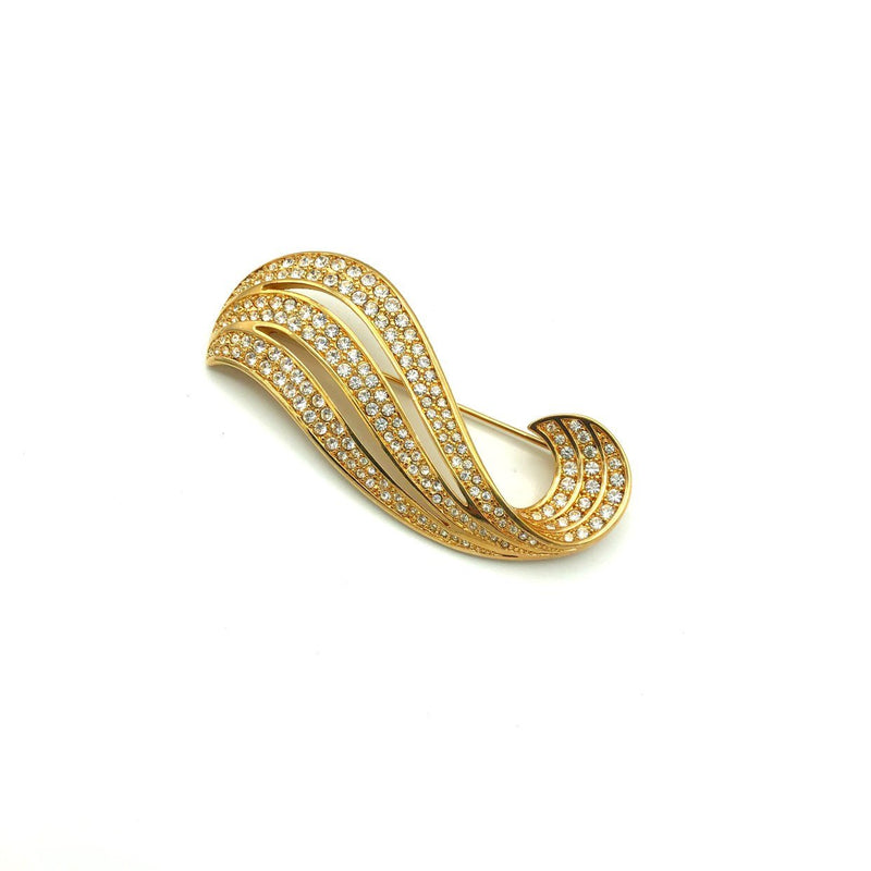 update alt-text with template Swarovski Gold Swirl Wave Diamante Crystal Brooch-Brooches & Pins-24 Wishes-[trending designer jewelry]-[swarovski jewelry]-[Sustainable Fashion]